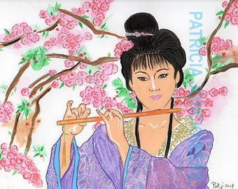 Chinese flute - drawing, painting and Posca markers