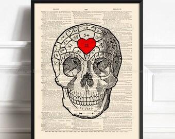 Skull Print Gift, Gothic Print Gift, Bathroom Wall Decor, Anniversary Gift, Her 20th Birthday, Creepy Cute, Human Anatomy Print, Cool 464
