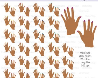 Manicure Dark Hands Icon Clipart in Rainbow Colors - Instant download PNG files