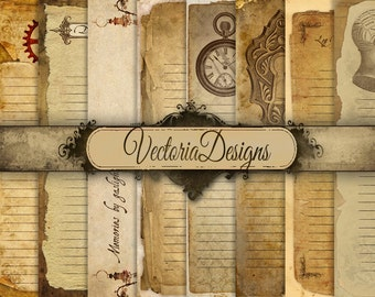 Printable Steampunk Diary Pages junk journal pages Digital Paper 8.5 x 11 paper scrapbooking digital download digital sheet - VD0462