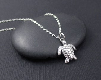 Sea Turtle Necklace Sterling Silver Tiny Sea Turtle Charm Pendant, Sterling Silver Sea Turtle Jewelry