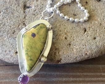 Grren and purple gem pendant