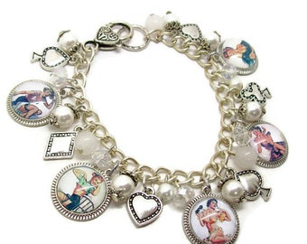 Pin Up Charm Bracelet - Silver Pin Up jewelry - Retro Pin Up Bracelet - Rockabilly Jewelry - Retro Jewelry - Pin Up Jewelry - Pin Up - Retro