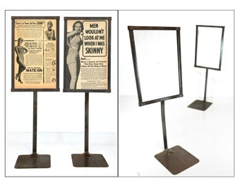 """advertising,sign, display stand, 21"""", set of 2, display sign, department store sign, frame, tabletop, standing sign, mid century, steel"""