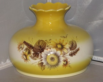 Vintage Yellow Floral GWTW Lamp Shade, Hurricane Shade, Lighting, Lamp Shade