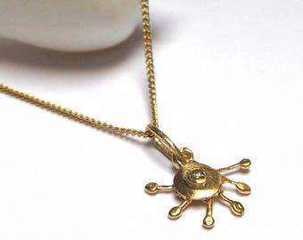Sun Pendant - Gold Necklace - 18 K Gold Necklace - Diamond Necklace - Weddings -  Free Shipping!!!
