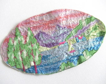 Antique Scenery Landscape Applique, 1930s Embroidery Sewing supply. #6A8G43KB