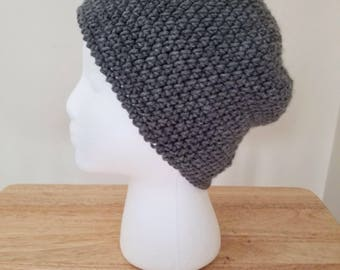 Large crochet beanie-gray