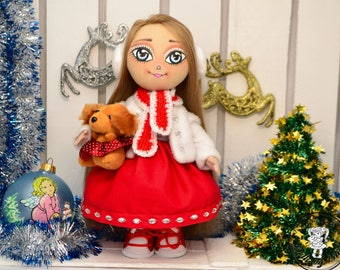 Winter doll with a dog Textile art doll Fabric art doll tilda doll in a red dress Interior doll Rag cloth doll Cute doll a gift for kids