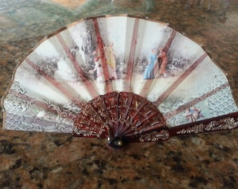 Renaissance Fair folding hand hand held fan formal ladies dress medieval costume revival lucite stave linen maidens accessory brown