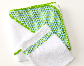 Baby Towel/green flower/hooded towel/with washing glove/terry/Green