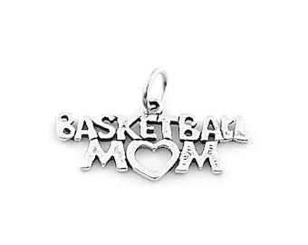 Sterling Silver Basketball Mom Charm (Flat Back Charm)