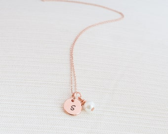 Rose Gold Initial and Pearl Necklace, Disc Necklace, Hand Stamped on Disc, Personalised Jewellery, Rose Gold Plated Necklace, Gift idea