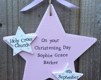 Personalised christening baptism star plaque gift present