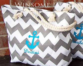 Boat Tote-Tote for the Boat-Personalized Beach Bag-Nautical Bag-Tote with Anchor-Tote for the boat-Boating Tote-Spring Break Bag-2017 Trend