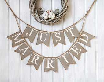Just Married Wedding banner, rustic wedding banner,just married burlap banner,just married banner, Wedding Banner, rustic wedding