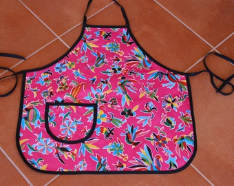 Pink Oilcloth Apron in Whimsical Pattern