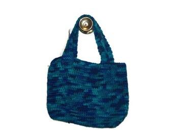 Small Tote Bag, Shoulder Bag, Macaw Blue Green, Crochet Purse