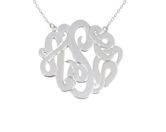 Sterling Silver Monogram 1.5 inch Necklace Any Initial Monogram Necklace Gold Monogram Necklace Silver Monogram Necklace