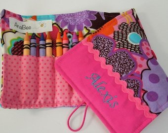 Crayon roll-up - Pink Flowers,  custom case, crayons INCLUDED, personalized crayon roll, pencil case, 12+ crayons