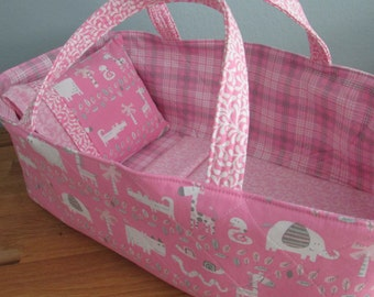 Doll Carrier, Will Fit Bitty Baby and Stella Dolls, Pink Animals, Pink Lining, 16 Inches Long, Doll Basket