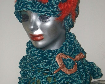 HAT WOMEN KNITTED  With Matching Cowl  Multi Shades of Blue with Orange Accents Woman Teens Girls