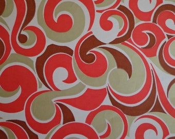 Vintage 1970s Gift Wrap Paper-1 Sheet Wrapping Paper- Gold, Burgundy & Red Swirl