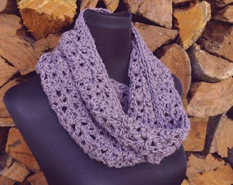 Snood/cowl in purple, ready to ship, infinity scarf woman's winter fashion scarf, single loop, circle scarf
