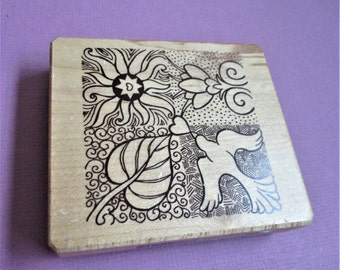 Large Decorative Arts Collage Papercraft Rubber Stamp Peace Dove Leaf Florals Ink A Dink A Do Gallerie Vernissage Scrapbooking Card Making