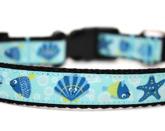 "Summer Dog Collar 3/4"" Size Small *Ready To Ship* Fish Dog Collar Starfish Dog Collar"