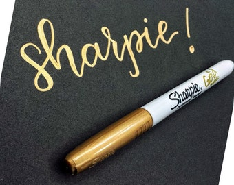 Sharpie METALLIC GOLD fine point marker | Sharpie permanent gold marker for art projects & crafting | opaque, quick dry, non-toxic
