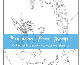Lily of the Valley Flower Fairy Coloring Page Digi Stamp Printable Digital Download