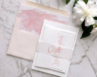 Wedding Invitation | Watercolor Wedding Invitation Suite | Watercolour Invitation | Calligraphy Invitation | Printed Wedding Suite | Miranda