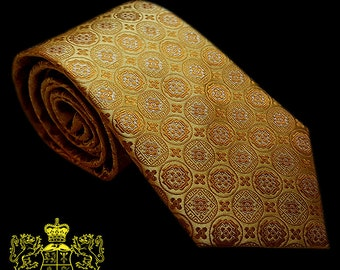 Gold Patterned Silk Tie