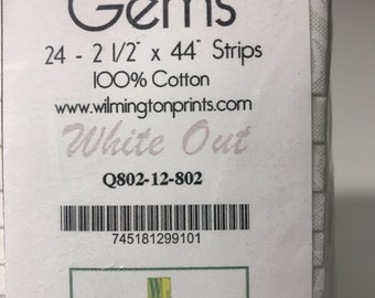 Essential Gems-White Out- 24-2 1/2 x 44 strips. Wilmington Prints