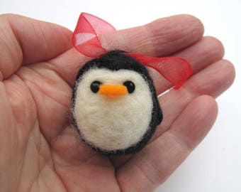 Handmade Needle Felted Penguin Decoration