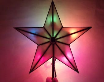 Stained Glass Five Point Star Christmas Tree Topper with Light Clips