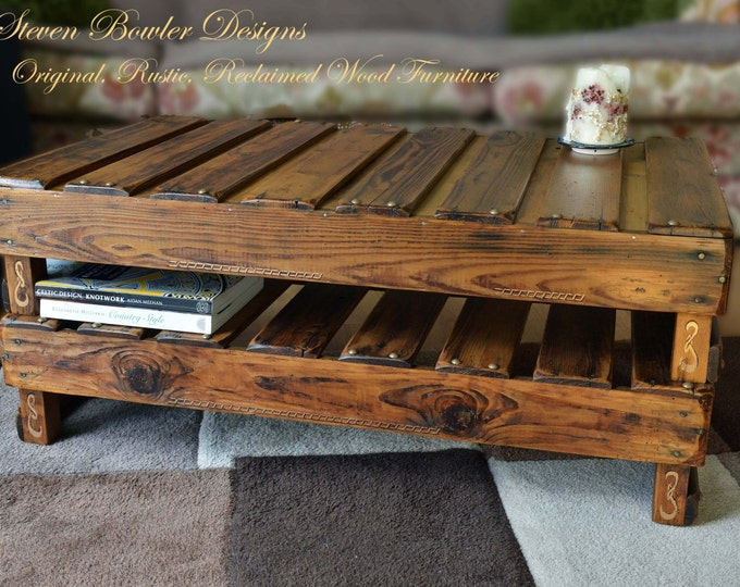 Country Cottage Celtic Style Rustic Reclaimed Wood Coffee Table Medium Oak Stain with Handy Under Shelf Storage & Hand Painted Celtic Design