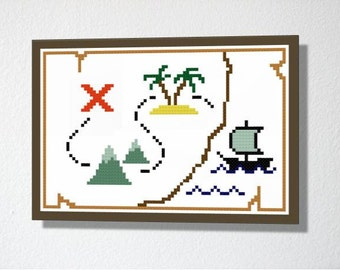 Treasure Map. Counted Cross stitch Pattern PDF. Instant download. Includes beginners instructions.