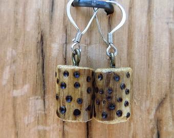 Boho Earrings, Wood with Dots