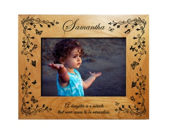 Personalized Girls Frame - Engraved Alder Wood