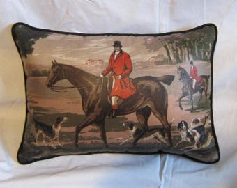 Handmade ENGLISH FOXHUNT Medium Horse Pillow w/Cotton Piping Quality Upholstery Fabric Brown Tones