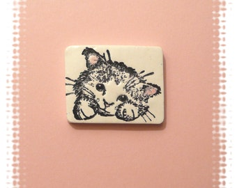 Cute Cat Pin, Cat Brooch, White Cat, Kitten Face, Cat Lapel Pin, black white pink, polymer clay jewelry