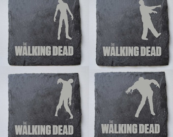 The Walking Dead Engraved Slate Coasters, Set of 4, Custom Coasters, Walking Dead Fans, Birthdays, House Gift, Anniversary, Fathers Day