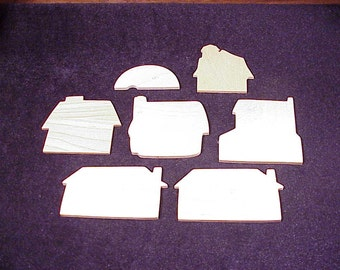 Lot of 6 Various Building Thin Wood Shapes and a Camper Trailer Shape, Unfinished Wood, Craft Supply, Project, Pine Cut Out, Barn, Wooden