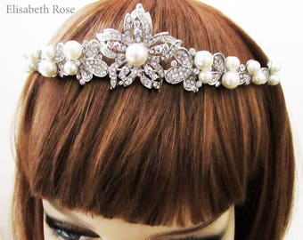 Decorative Tiara for Bride, Crystal and Ivory Pearl Tiara for Bride, Bridal Tiara, Wedding Day Tiara, Pearl Tiara for Wedding, Bride Tiara