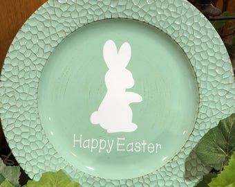 White Easter Bunny Charger Plate