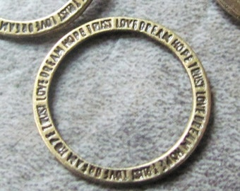20mm Antique Brass Linking Connector Rings - 10PK - Love Dream Hope Trust