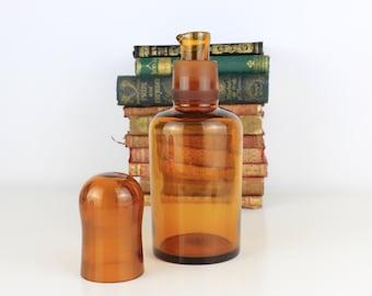 Antique Chemists Bottle 21cm Amber bottle