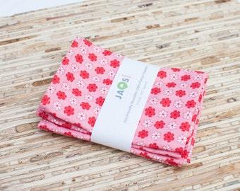 Small Cloth Napkins - Set of 4 - (N1198s) - Pink Modern Reusable Fabric Napkins